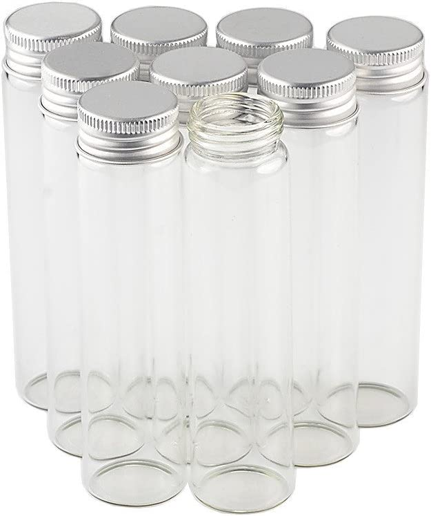 60ml Empty Seal Jars Glass Bottle with Aluminium Silver Color Screw Cap Sealed Liquid Food Gift Container 12units (12, 60ML-LU-Cap)