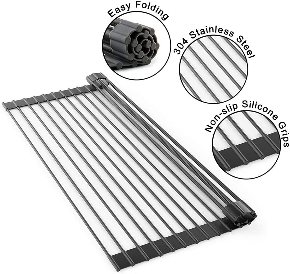 """Lauliven Over The Sink Roll Up Dish Drying Rack, Multipurpose Dish Rack, Portable Drainer Racks (17.7"""" x 10.2"""")"""