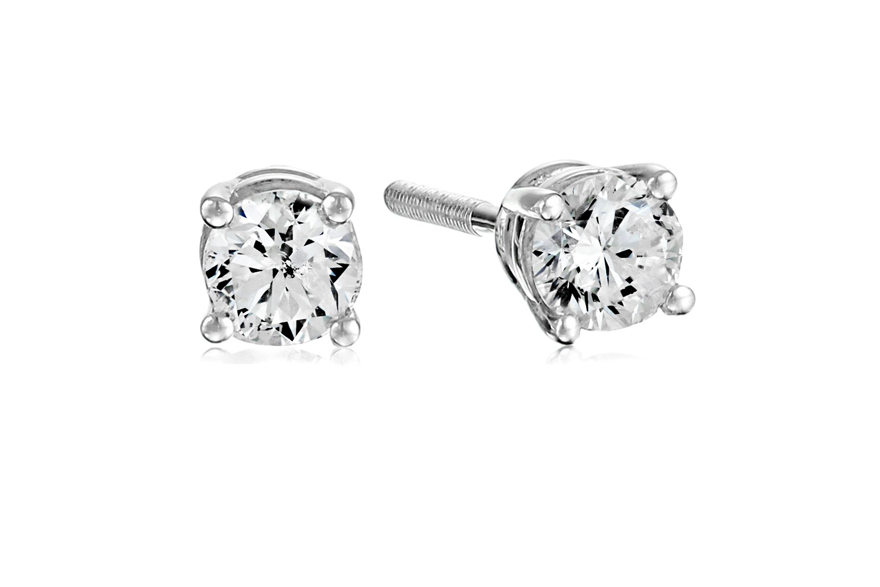 Certified 14k White Gold Diamond with Screw Back and Post Stud Earrings (1/3cttw, J-K Color, I1-12 Clarity) by Amazon Collection
