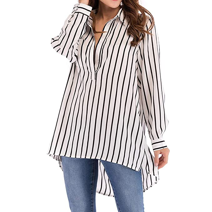 b68421acb201b HOSOME Women Striped Pocket Top Casual Plus Size Sexy Long Sleeve Blouse  Long Shirt White