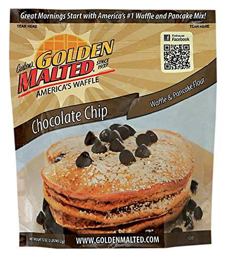 Carbon's Golden Malted Chocolate Chip Waffle and Pancake Flour, 32 Ounce