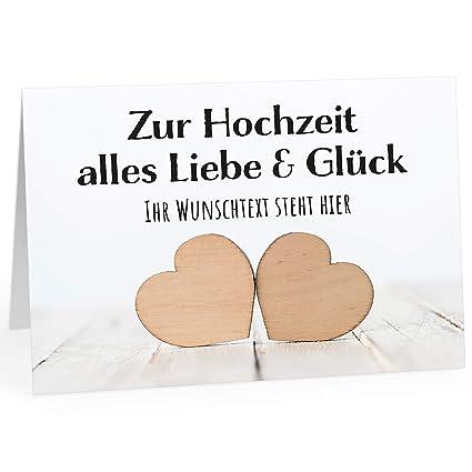 Große Glückwunschkarte Zur Hochzeit Xxl A4 Personalisiert 2 Herzen Holz Mit Wunschname Mit Umschlagedle Design