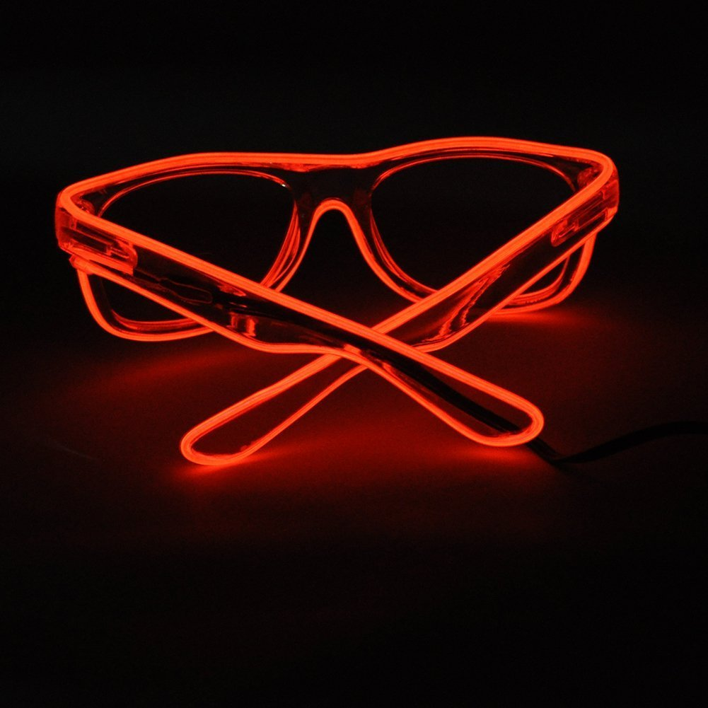 TILO LED Rave Sunglasses White Multicolor Frame EL Wire Glow Colorful Flashing Safety Light up Glasses for Festivals DJ Bright Light Holiday Gift (Red) by TILO (Image #3)
