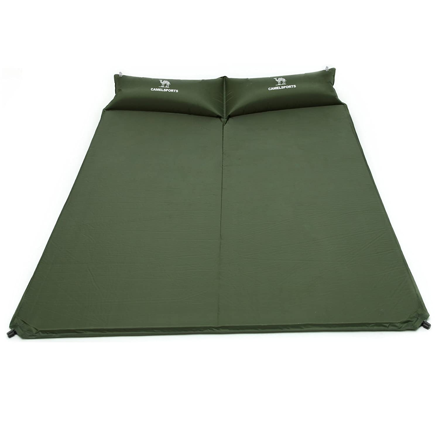 Camel Double Self-Inflating Sleeping Pad with Attached Pillow