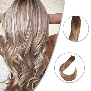 Easyouth 20 inch Balayage Tape in Hair Extensions Dark Roots 50 Gram  Balayage Color 4 Brown Roots