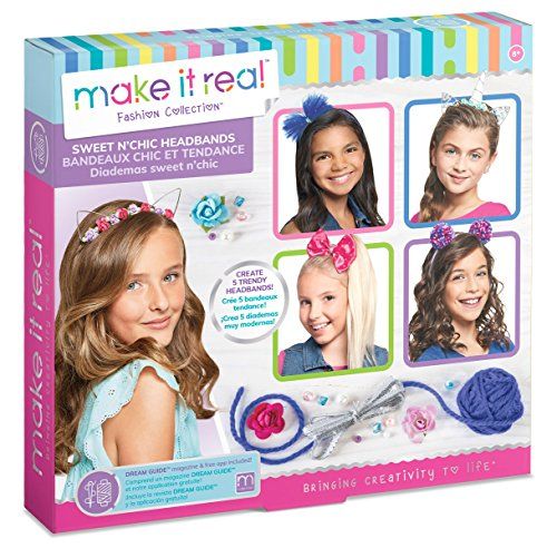 Make It Real Sweet n' Chic Headbands. Trendy and Stylish Tween Girls DIY Headband Kit Guides Kids to Create Five Unique Hair Headbands with Beads, Ribbons, Gems and More - Ribbon Gem