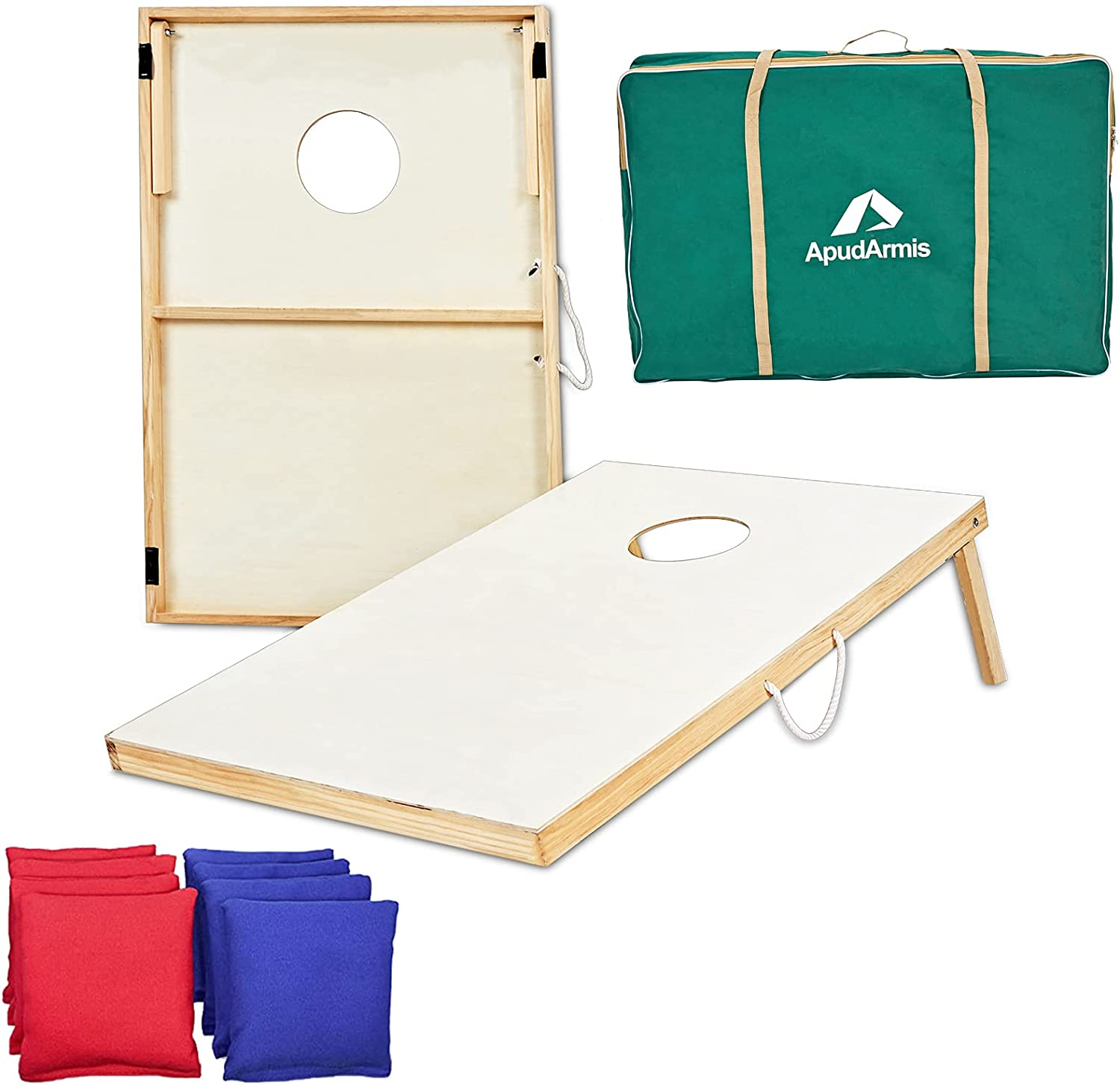 ApudArmis Wooden Cornhole Boards Set, 3x2Ft Classic Cornhole Outdoor Games Set with 8 Cornhole Bean Bags and Carrying Case - Tailgating BBQ's Camp Lawn Yard Beach Game for Kids Adults Family