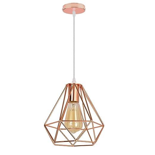 iDEGE - Lámpara de techo retro E27 con forma de jaula, lámpara ...