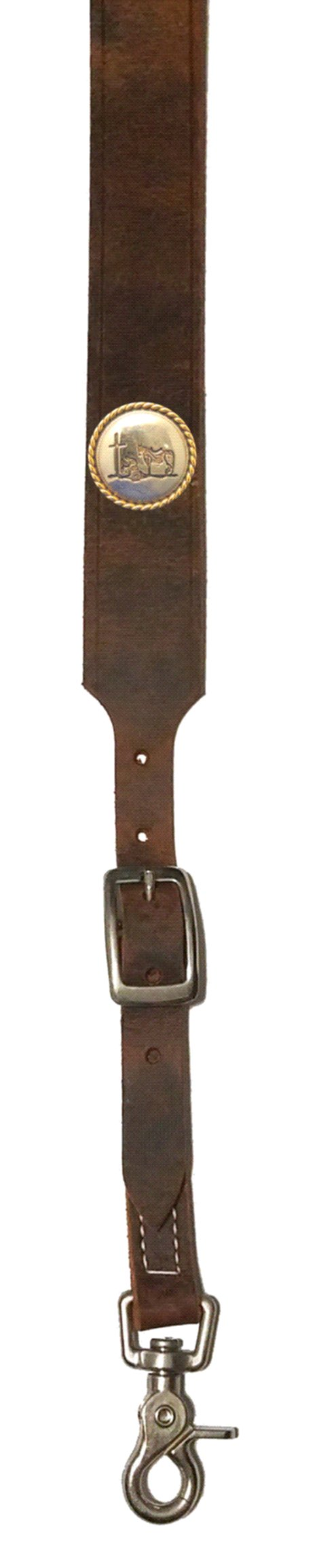 Custom Praying Cowboy Church Leather suspenders in Bay Apache Brown. Made in the USA