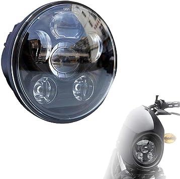 """Motorrad Runde 5.75/"""" LED Projektion Scheinwerfer Schwarz für Harley Davidson"""