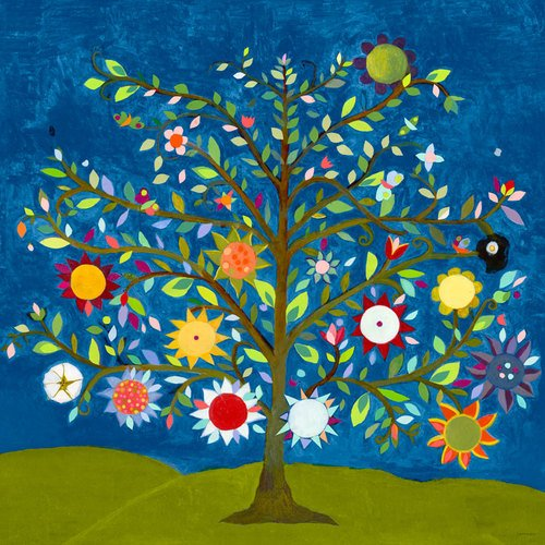 Culture Tree of Life Stretched Canvas Wall Art by Caroline Blum