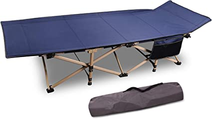 Sturdy Folding Sleeping Cot for Camping Outdoor Travel Blue Grey Portable with Carry Bag CAMPMOON Heavy Duty Camping Cots for Adults Most Comfortable