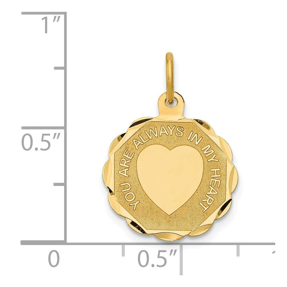 14K Yellow Gold You Are Always In My Heart Charm Pendant from Roy Rose Jewelry