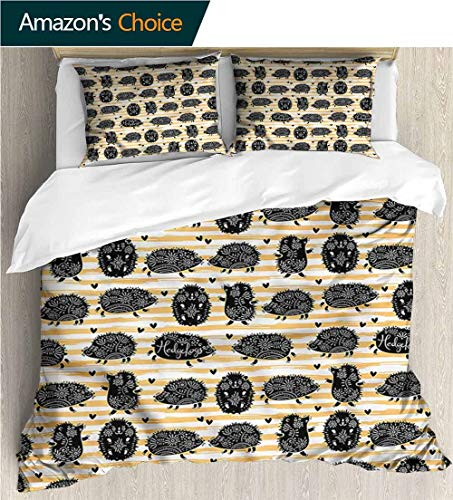 (Style 3D Digital Print Bedding Sets,Box Stitched,Soft,Breathable,Hypoallergenic,Fade Resistant 100% Cotton Beding Linens For Kids Children-Hedgehog Floral Mascots Stripes (87