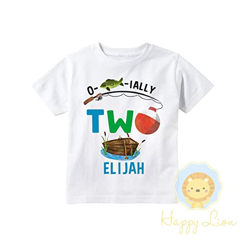 b684e968 Amazon.com: Happy Lion Clothing - Personalized Second 2nd Birthday Fishing  Theme shirt for boys, Ofishally two Birthday outfit: Handmade