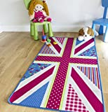 """Pink Blue Union Jack Area Rugs Easy Clean Rubber Backed Flag Pattern Mat 2'7"""" x 4'11"""""""