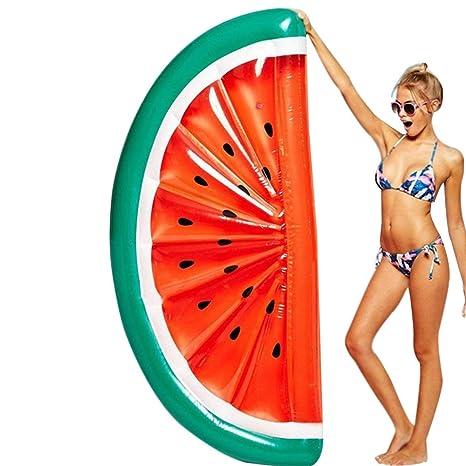 Gran Sandía Semicircular Fila Flotante Inflable, Agua de Sandía Piscina Flotador Tumbona Flotadora Para Adultos
