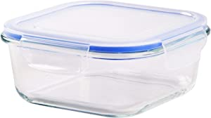 "Palais Glassware Tempered Glass Food Storage and Meal Prep Container with Airtight Lid - Baking Dish (Square, 7.25"" X 7.25"" X 3.25"")"