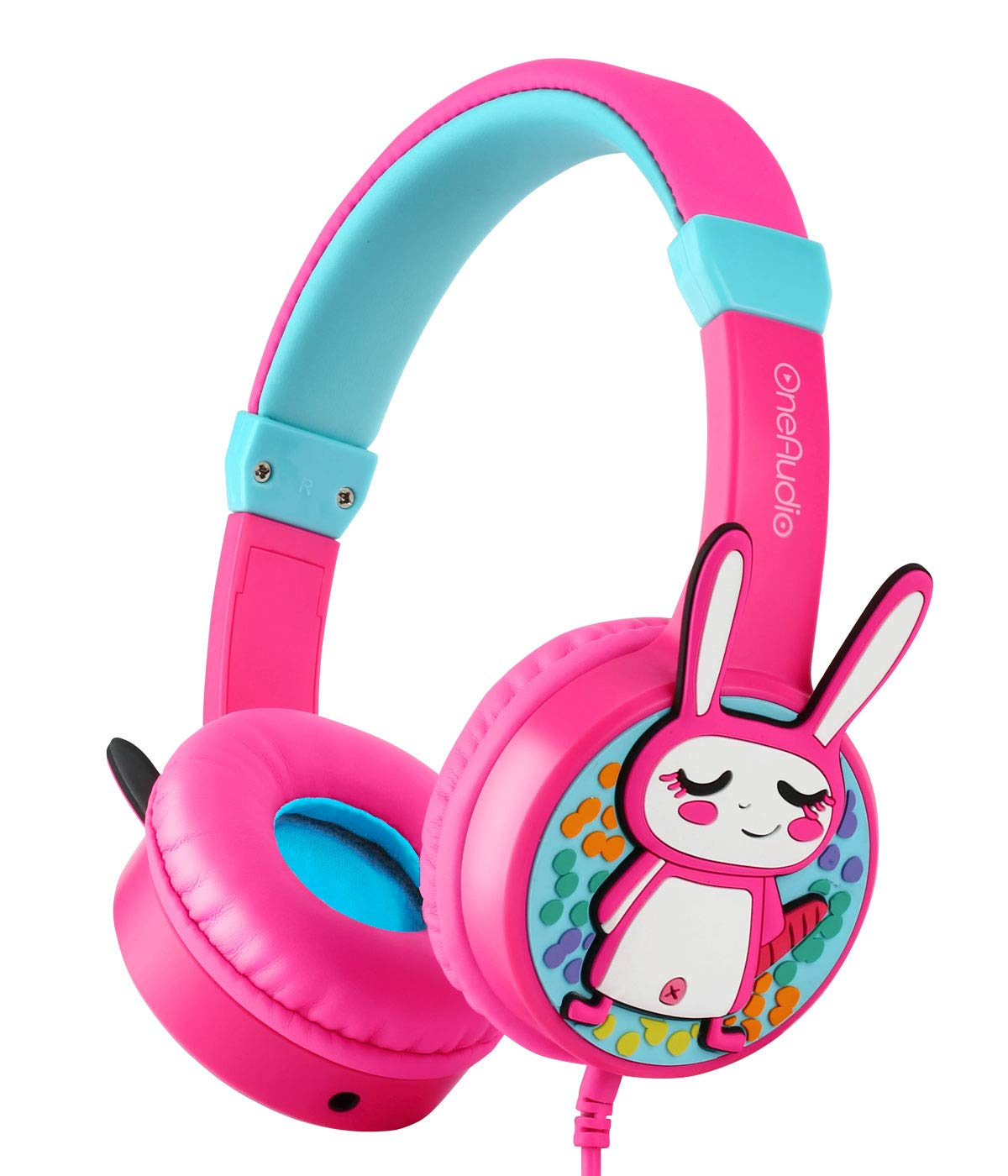 Kids Safe Headphones, OneAudio 85dB Volume Limited Headsets with 3.5mm Jack Lightweight & Durable, Wired On-Ear Headphones with Share Port Compatible for/Toddler/Girls/Kindle/Airplane/iPhone/(Rabbit)