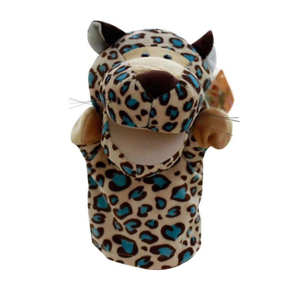 JVSISM Nette Pluesch-Velours Tierhandpuppen Schick Designs Kind Kinder Lernhilfe Spielzeug (Leopard) golden