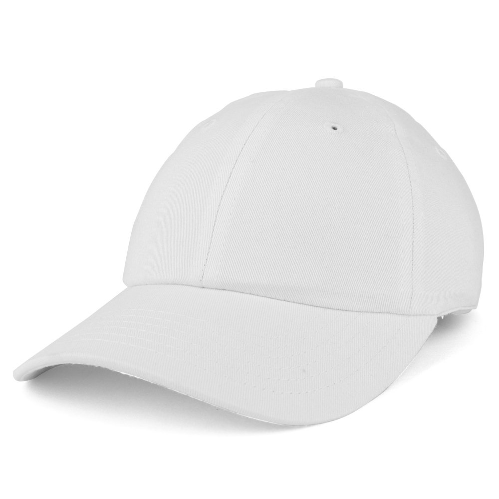 Trendy Apparel Shop Youth Small Fit Bio Washed Unstructured Cotton Baseball Cap - White