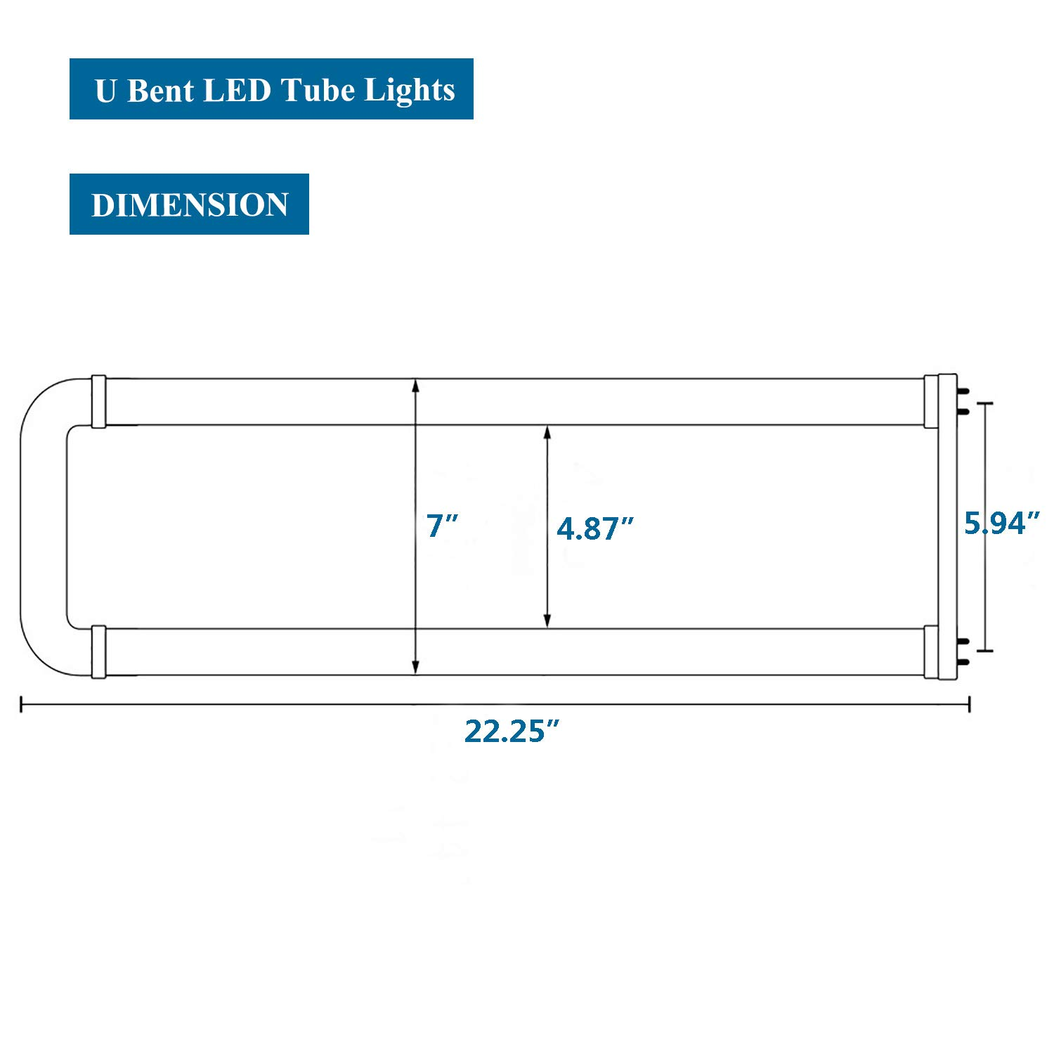 T8 U Bent LED Tube Light - Romwish 18W(40W Replacement) 2x2FT U Bend U Bend Wiring Diagram For Led Bulbs on