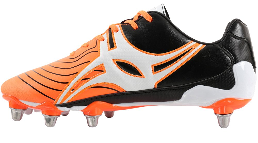 Gilbert Evolution MK 2 8 Stud SG Men's Rugby Boots, Orange, US10