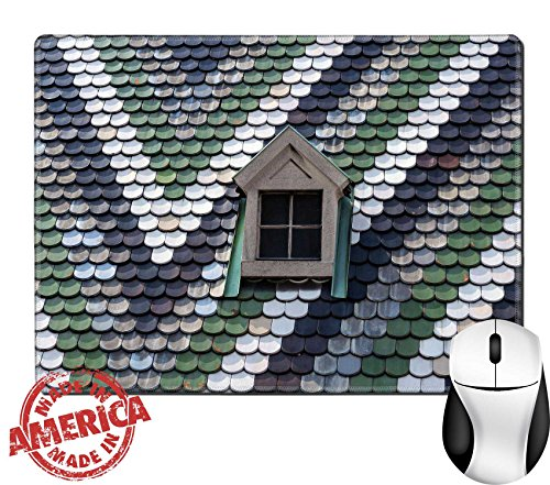 """Price comparison product image Luxlady Natural Rubber Mouse Pad/Mat with Stitched Edges 9.8"""" x 7.9"""" IMAGE ID: 24768950 Detailed view of colorful roof shingles and window"""