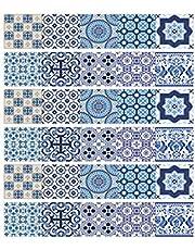 ملصق السلالم ذاتي اللصق لتزيين المنزل الإبداعية بسيطة ثلاثية الأبعاد ملصقات أرضية الممر الأزرق والأبيض