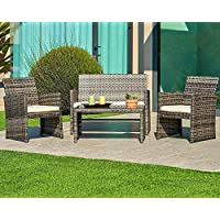 SUNCROWN Outdoor Furniture Grey Wicker Conversation Set...