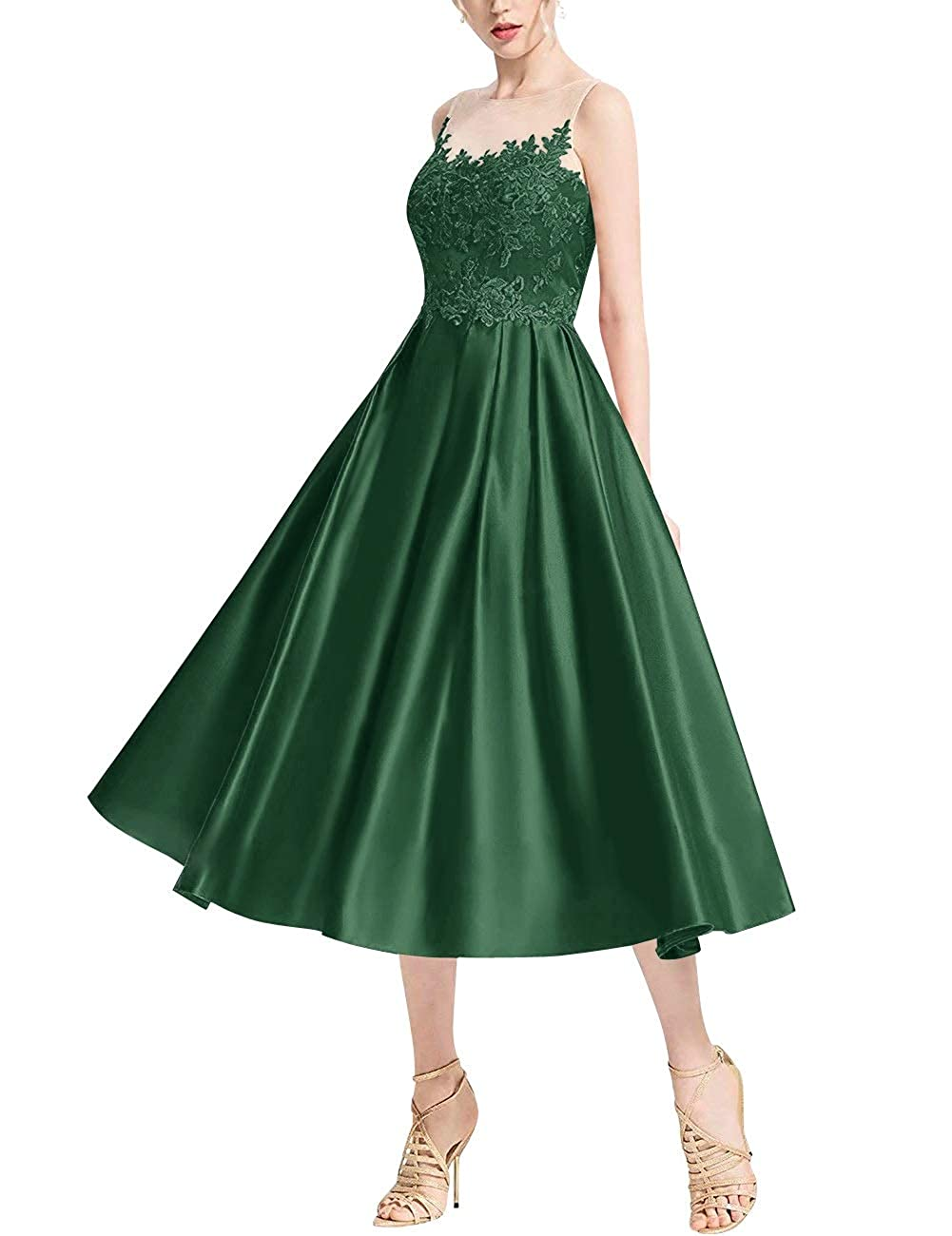 Hunter Green MorySong Women's Lace Illusion Bateau Neck Tea Length Cocktail Homecoming Dress