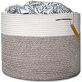 "Goodpick Large Cotton Rope Basket 15.8""x15.8""x13.8""-..."