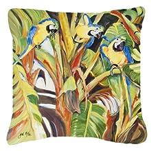 Caroline's Treasures JMK1281PW1818 Parrots Canvas Fabric Decorative Pillow, 18H x18W, Multicolor