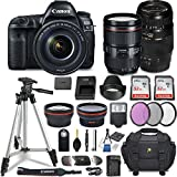 Canon EOS 5D Mark IV DSLR Camera w/ 4 Lens Bundle including EF 24-105mm f/4L IS II USM + 2.2x Telephoto & 0.43x Aux Wide Angle Lens + 2Pcs 32GB SD + Accessories with Premium Commander Kit (29 Items)