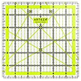 "ARTEZA Quilting Ruler, Laser Cut Acrylic Quilters' Ruler with Patented Double Colored Grid Lines for Easy Precision Cutting, 6"" Wide x 6"" Long for Quilting, Sewing & Crafts, Black & Lime Green"