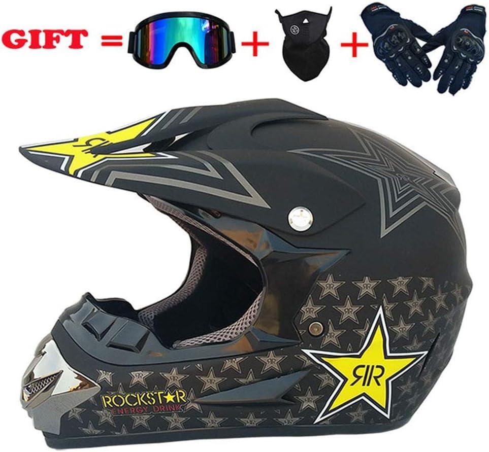 モトクロスデュアルスポーツヘルメット、防風D.O.T公認アダルトオートバイグローブゴーグルマスクコンボ全能のヘルメット4個セット、星、S、ブライトブラック、M,マットブラック、大