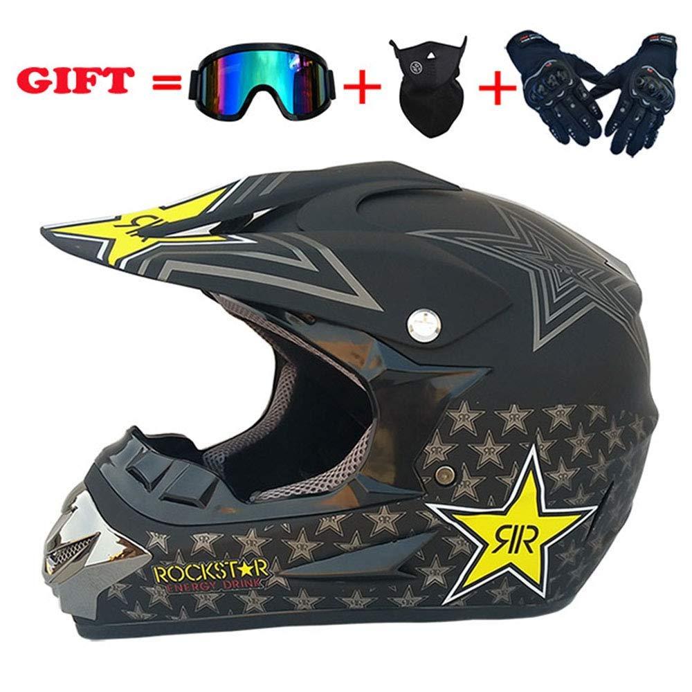 モトクロスデュアルスポーツヘルメット、防風D.O.T公認アダルトオートバイグローブゴーグルマスクコンボ全能のヘルメット4個セット、星、S、ブライトブラック、M,マットブラック、ミディアム