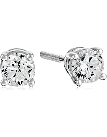 fcd9f1bb5 Certified 14k White Gold Diamond with Screw Back and Post Stud Earrings  (J-K Color,