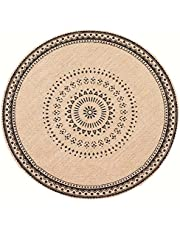 Atmneris Mandala Flower Round Placemat Farmhouse Jute Table Mats with Tassel for Dining Room Kitchen Table Decoration,Black Without Tassels,14.57 inch