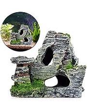 BONNIO Acuario Ornamento montaña Vista decoración Rockery Paisaje Roca Escondido Cueva árbol Acuario decoración
