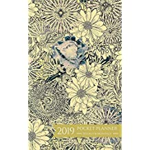 2019 Pocket Planner Weekly and Monthly: Golden Flower January - December 2019 Calendar and Planner For To-Do List, Appointment Journal and Academic Agenda Schedule Organizer
