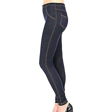 0ec1461933a Womens Skinny Fit Back Pockets Denim Look Plus Size Jeggings DENIM NAVY  20-22