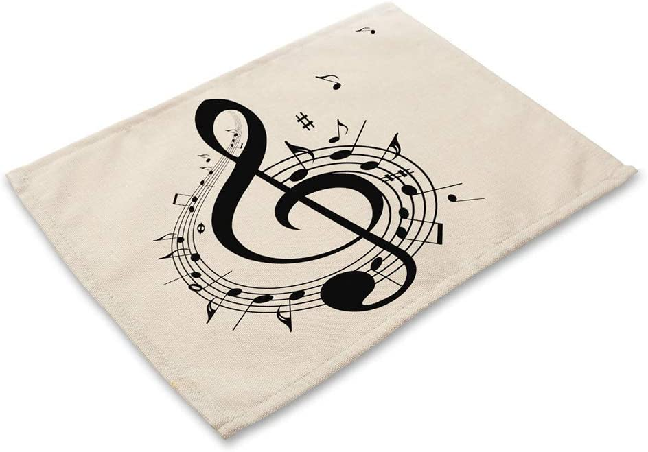 Hongma Dessous de Plats Musical Note Place Mat for Kitchen Dining Table Runner Heat Insulation Non-Slip Washable Placemats