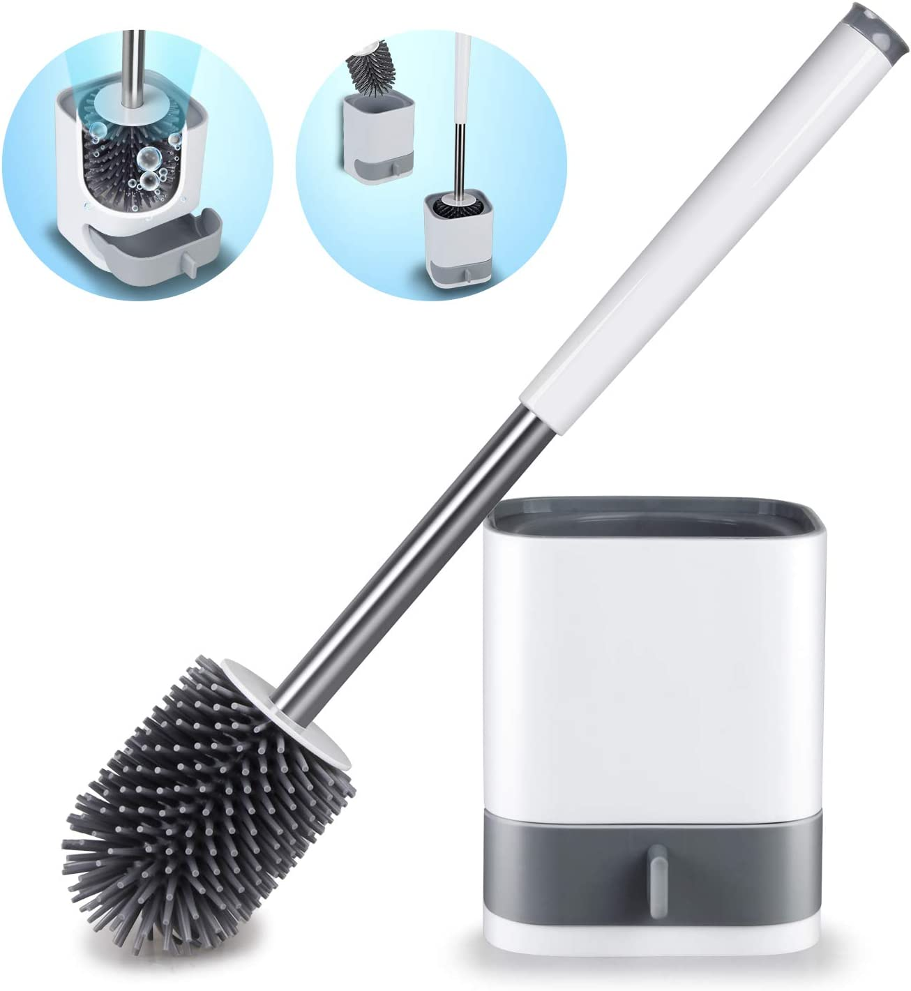 Soft Silicone Toilet Brush and Holder Set Bristle Toilet Bowl Brush For Bathroom