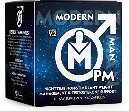 Modern Man PM Fat Burner - Sleep Aid, Weight Loss & Testosterone Booster for Men, Best Night Time Metabolism Booster & Caffeine Free Sleep Supplement | Burn Belly Fat & Build Lean Muscle, 60 Pills (Best Testosterone For Cutting Cycle)