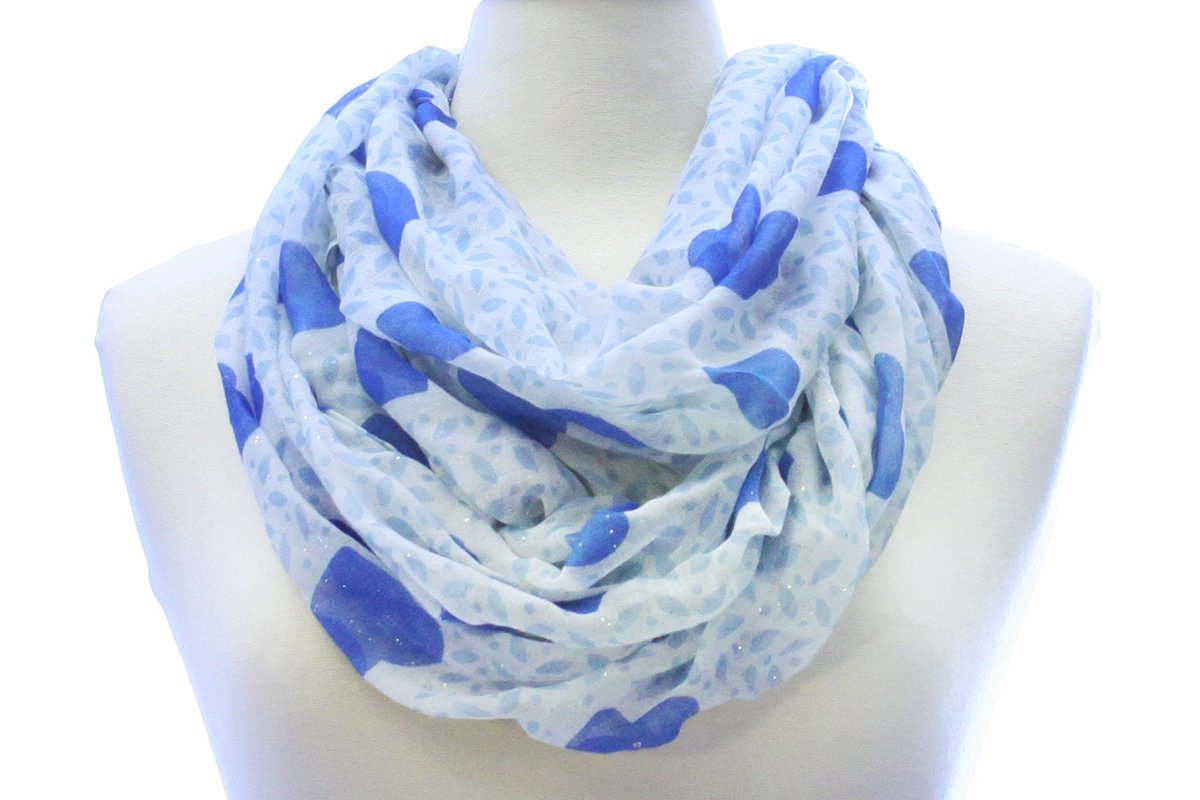 LL Blue Heart Infinity Scarf Wide Lightweight Sheer Blanket Glitter Shine