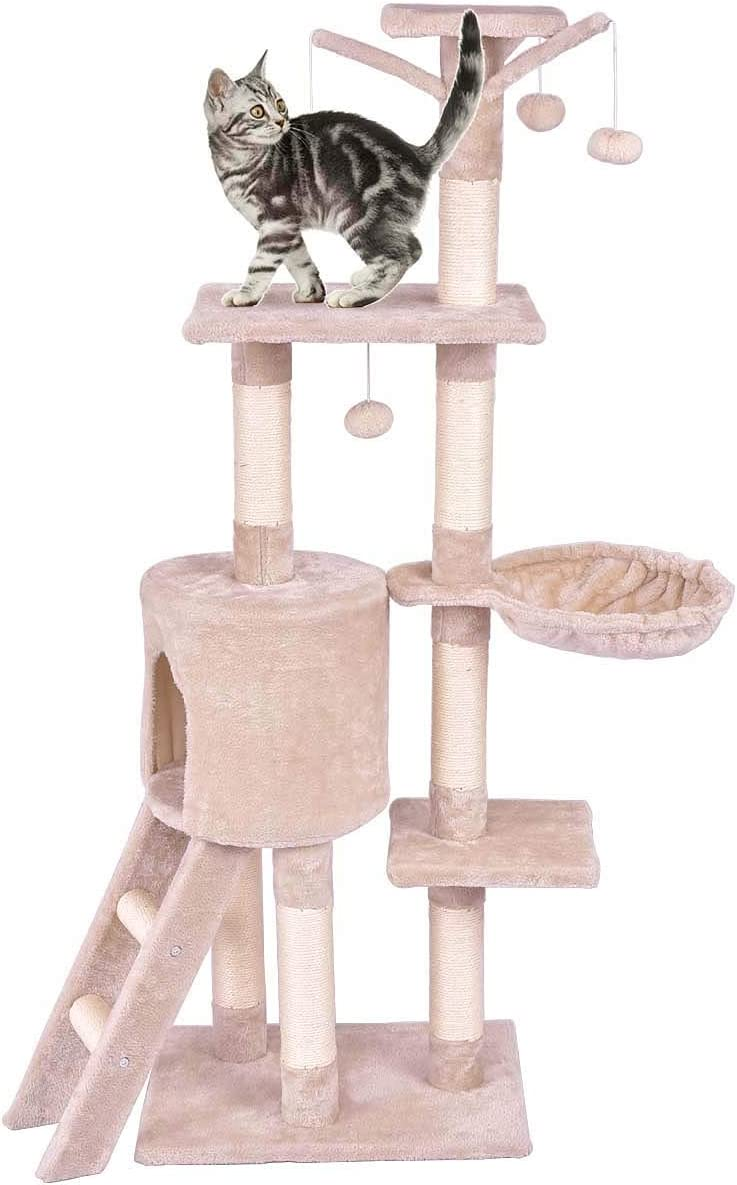 PETSJOY Cat Tree Condo with Scratching Posts Perches, Deluxe Cat Tower Kitten Play House