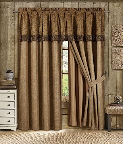 Chezmoi Collection Yosemite 4 Pieces 2-Tone Brown Paisley Floral Embossed Microsuede Panels Window Curtain Set (Curtain Set)
