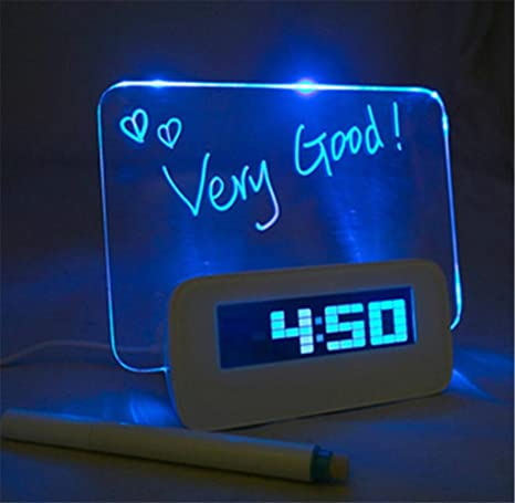 HITOP Digital LED fluorescente Mensaje Pizarra Message Board Despertador Reloj Temperatura Calendario Temporizador con lápiz –