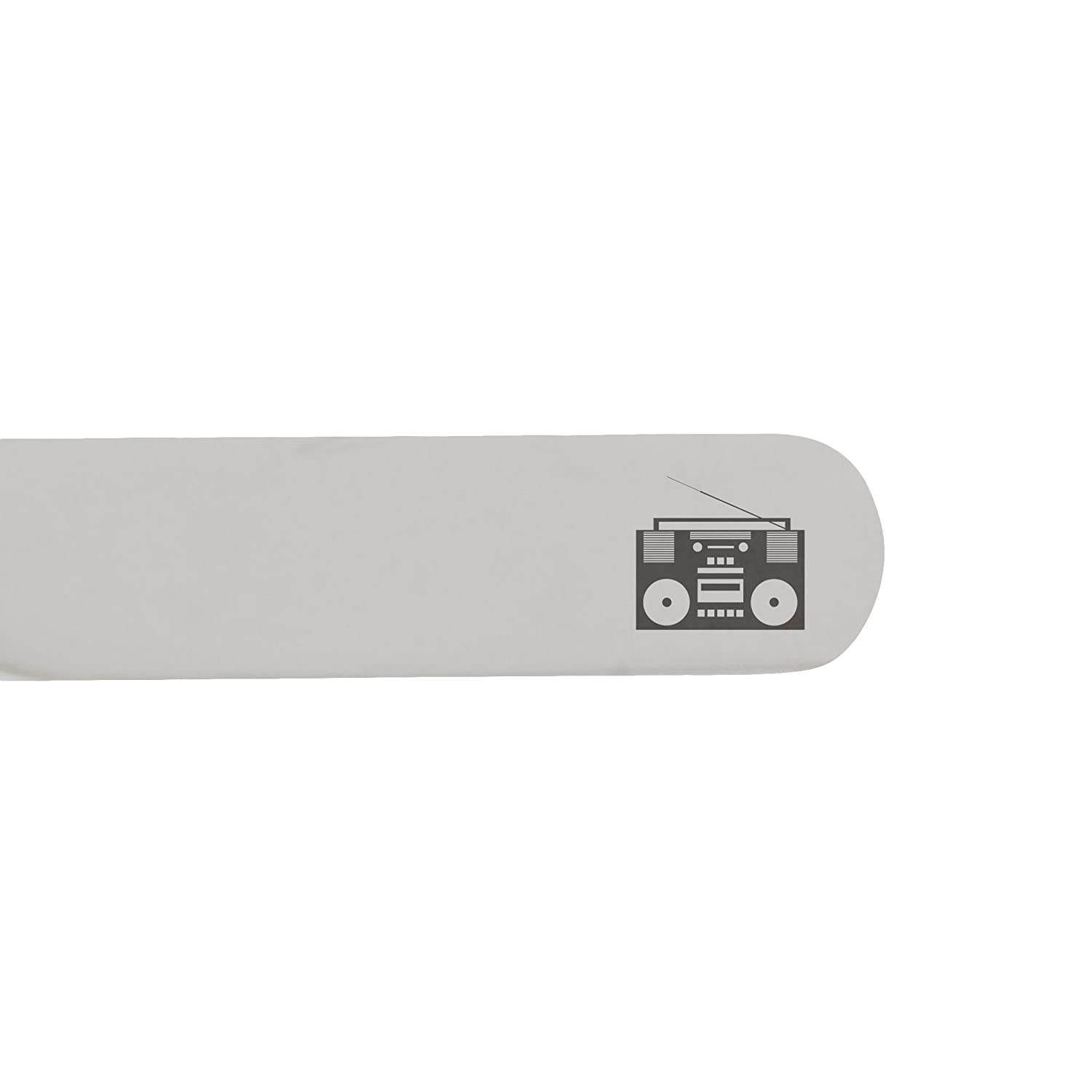 2.5 Inch Metal Collar Stiffeners Made In USA MODERN GOODS SHOP Stainless Steel Collar Stays With Laser Engraved Boombox Design